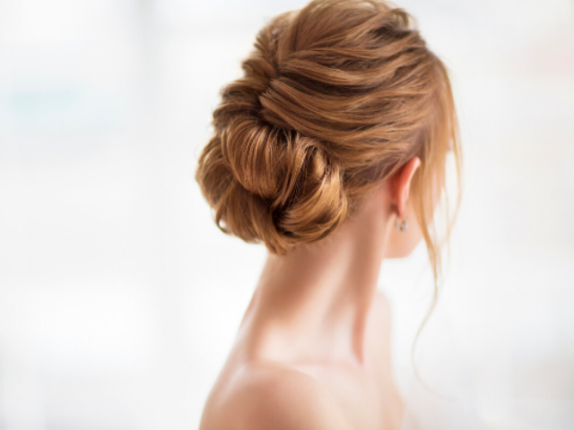 Styled hair in a low bun hairstyle