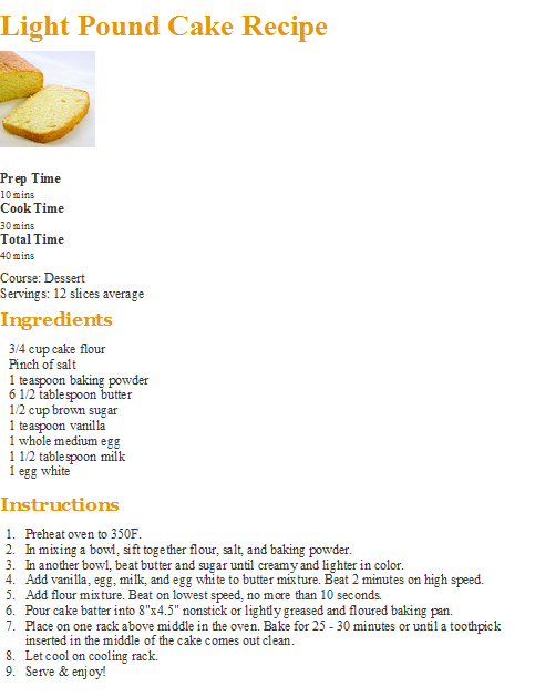 Light Pound Cake Recipe