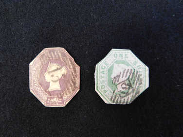 1847 GB pair of embossed stamps