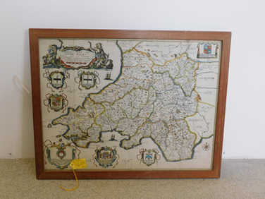1673 framed map of South Wales by Richard Blome