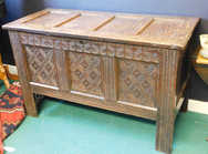 Oak coffer with candle box