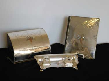 Silver desk set by Comyns