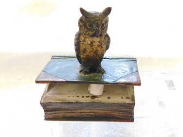 Bergmann style bronze owl stamp holder