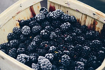 blackberries in a wooden box