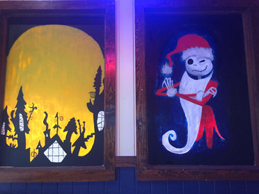 Painted the windows of Wild Wing Cafe before the holidays