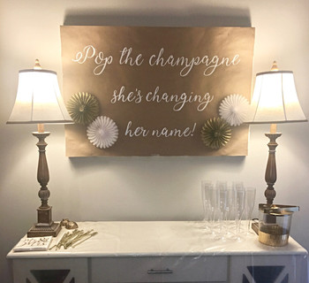 A banner for my friends engagement party