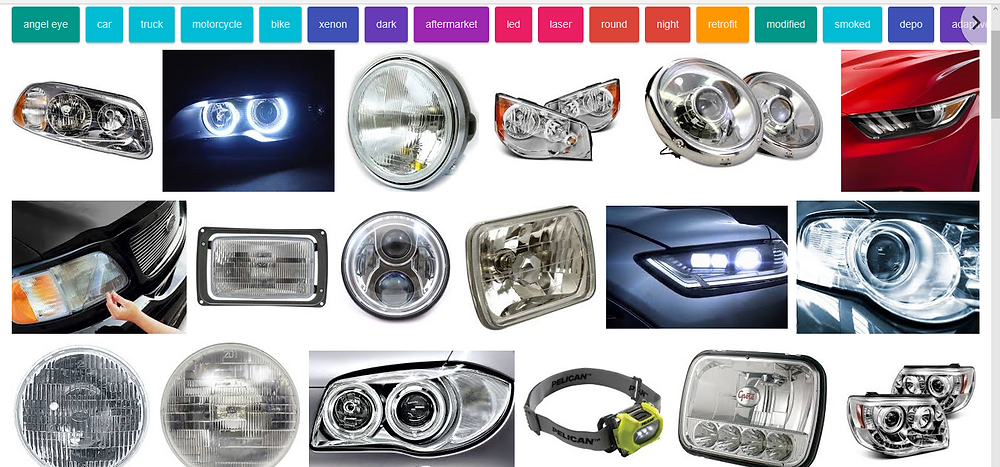 Headlights of all shapes & sizes.