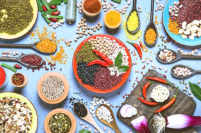 Assortment of legumes bowls and various