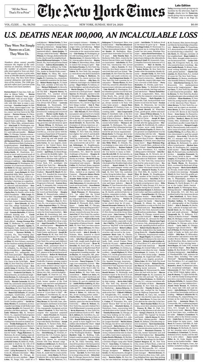 NYT front page with 100,000 names