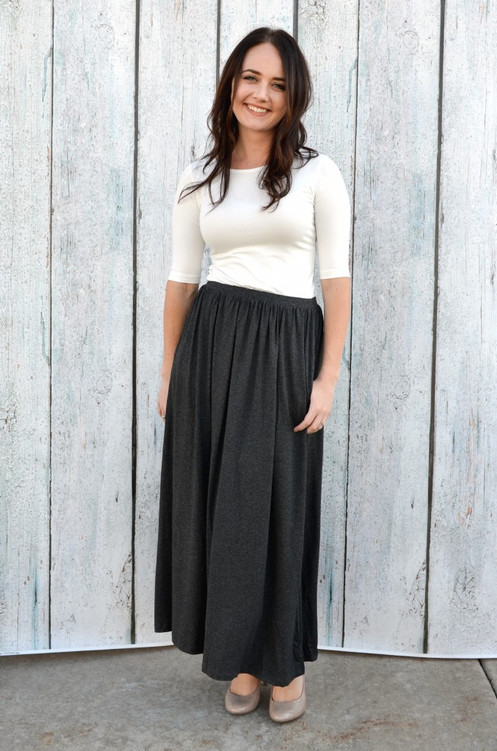 a23c3ac0e3 Gathered Maxi Skirt with Pockets - Charcoal