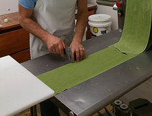 spinach pasta before being cut