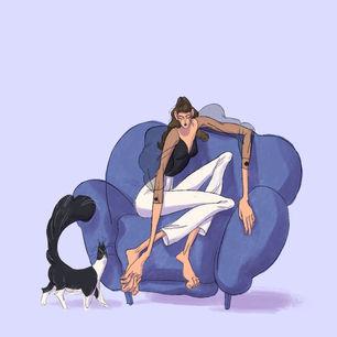 Reclining cat lady
