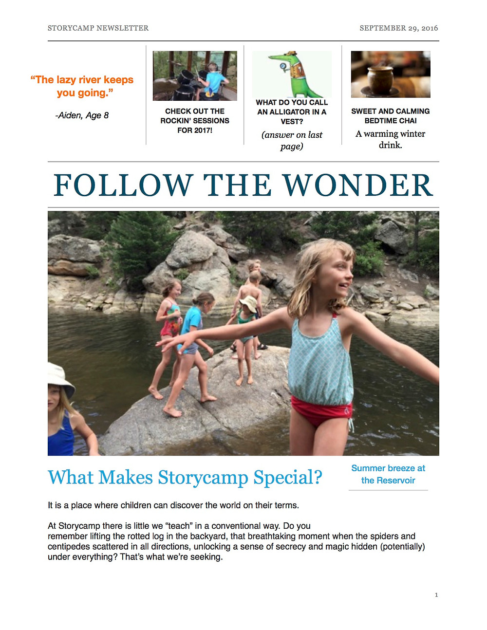 Follow the Wonder:  A Bi-monthly Storycamp Newsletter