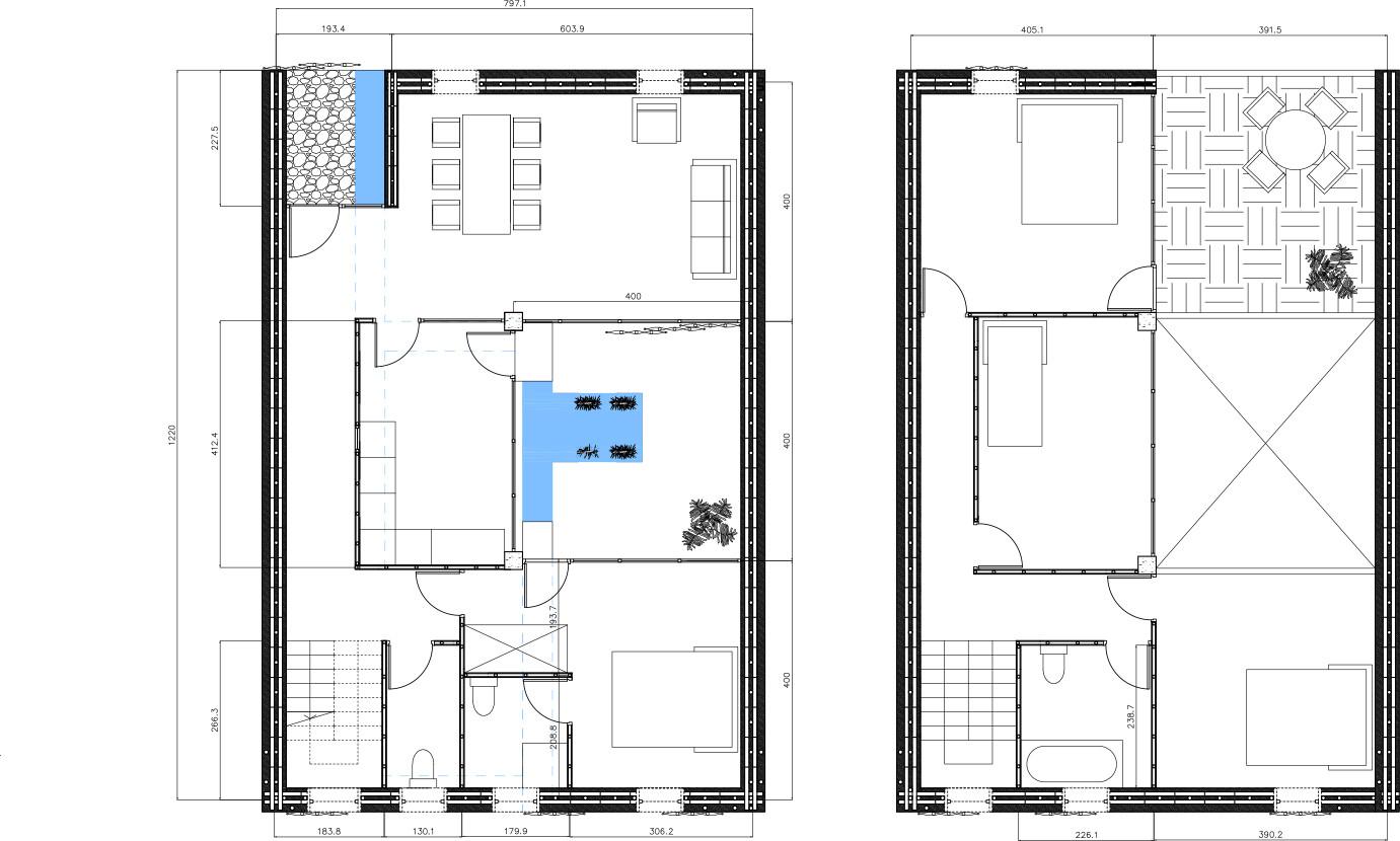 Plan de logement type autour d'un bassin
