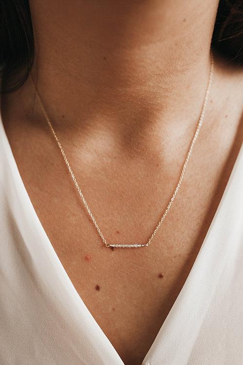 Semi-Precious Stone Bar Necklace