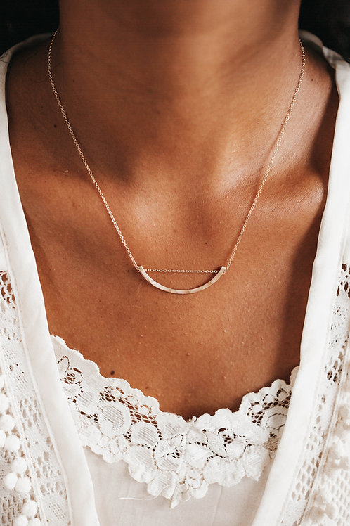Half Circle Pounded Gold Necklace