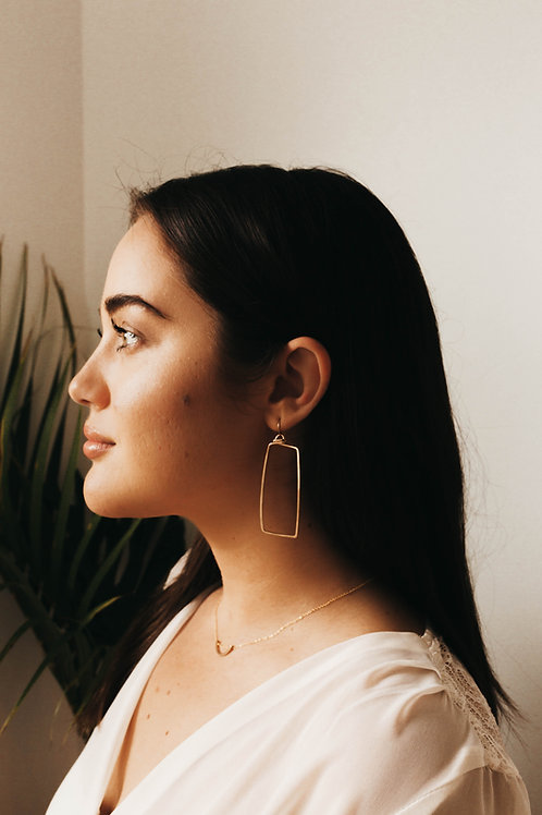 Hammered Gold Rectangle Earrings