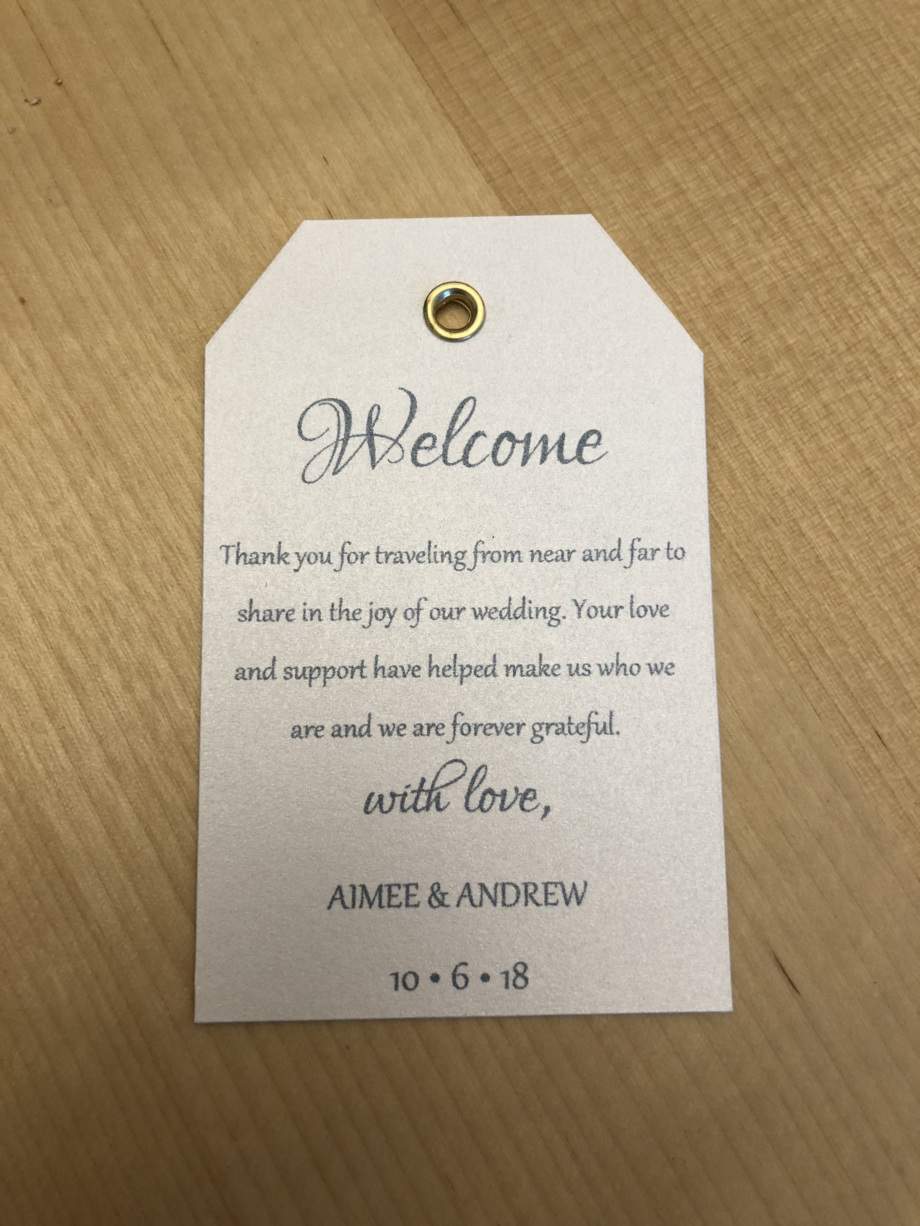 Welcome Bag Tag