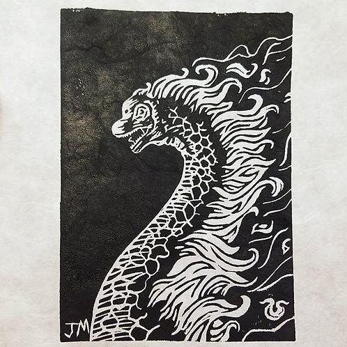 Burning Brachiosaurus (block print)