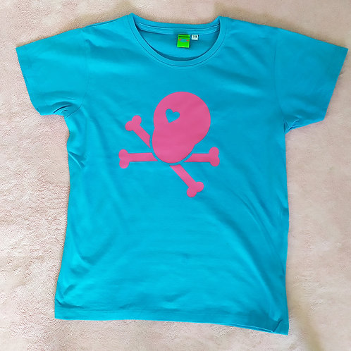 T-Shirt türkis / Loveskull pink