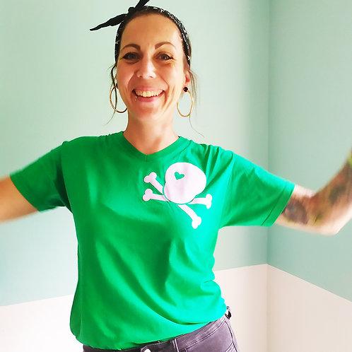 T-Shirt grün / Skull flieder