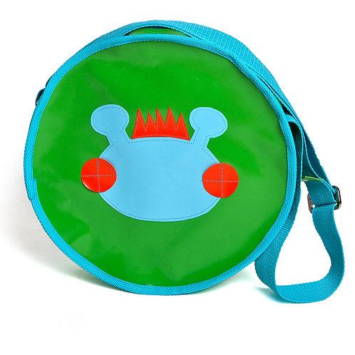 Runde Tasche grün / Willy hellblau