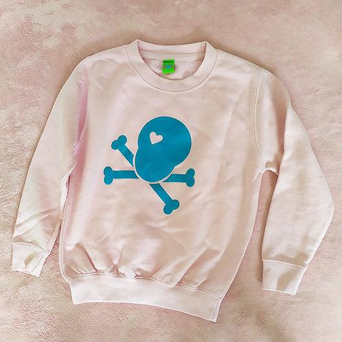 Sweatshirt rosa / Loveskull türkis
