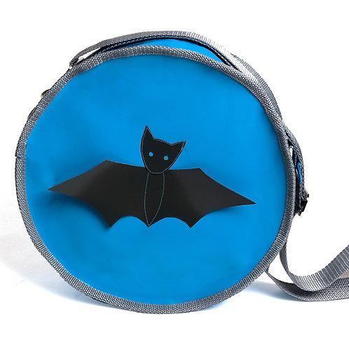 Runde Tasche blau / Fledermaus grau