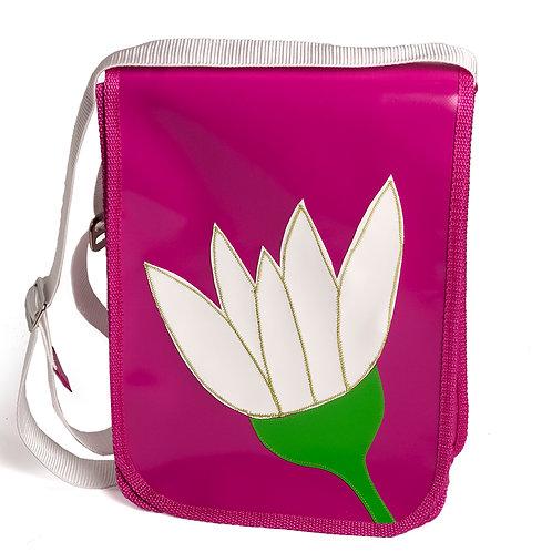Tasche pink  / Blume weiß