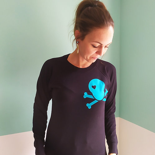 Sweatshirt schwarz / Skull türkis