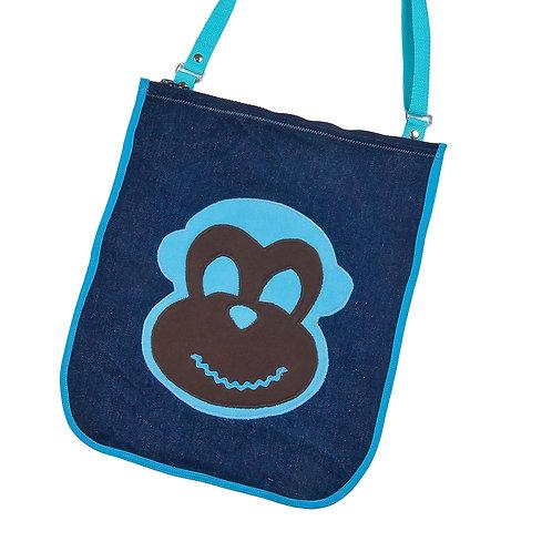 Tasche aus Jeans / Affe blau