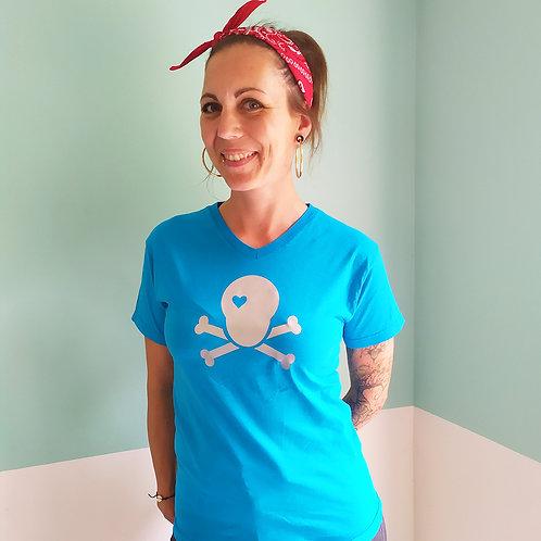 T-Shirt türkis / Skull silber