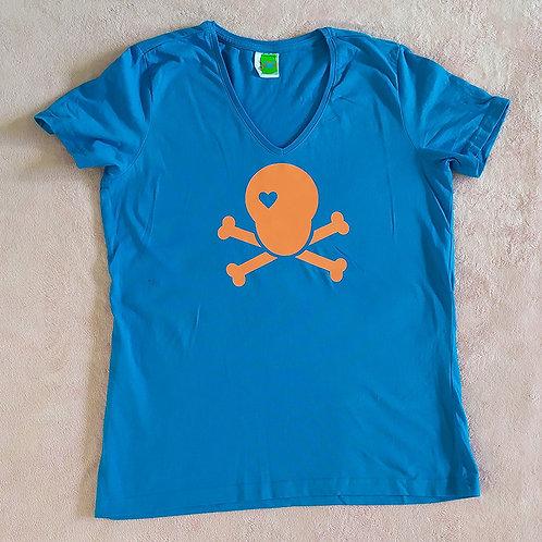 T-Shirt blau / Skull orange
