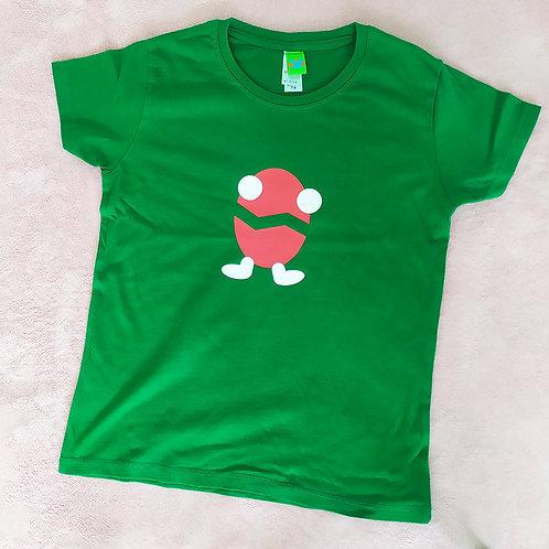 T-Shirt grün / Billy rot