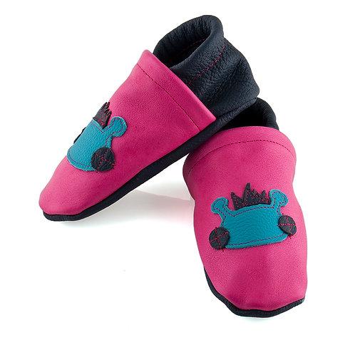 Lederpuschen pink / dunkelblau / Willy