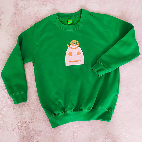 Sweatshirt grün / Lilly rosa