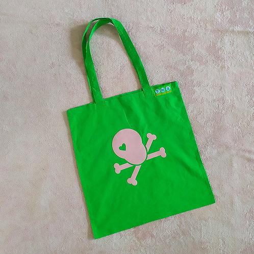 Stofftasche grün / Skull rosa