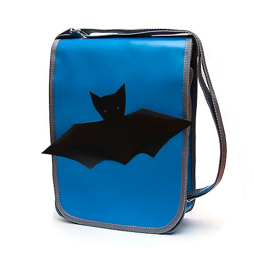 Tasche blau / Fledermaus grau
