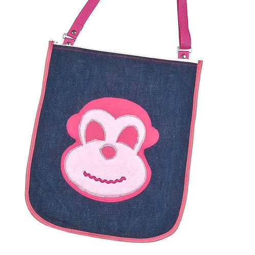 Tasche aus Jeans / Affe pink