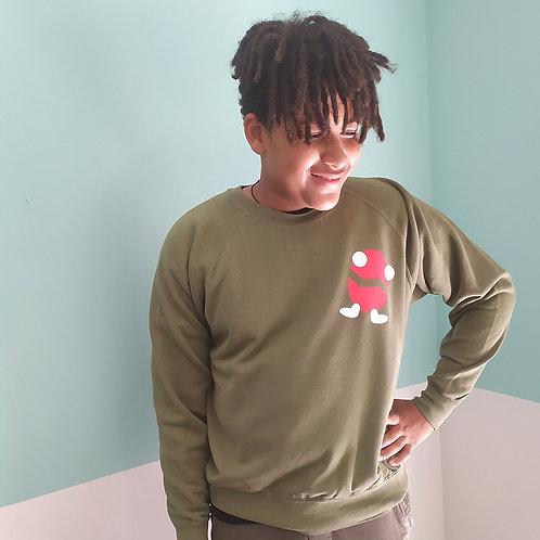 Sweatshirt oliv / Billy rot