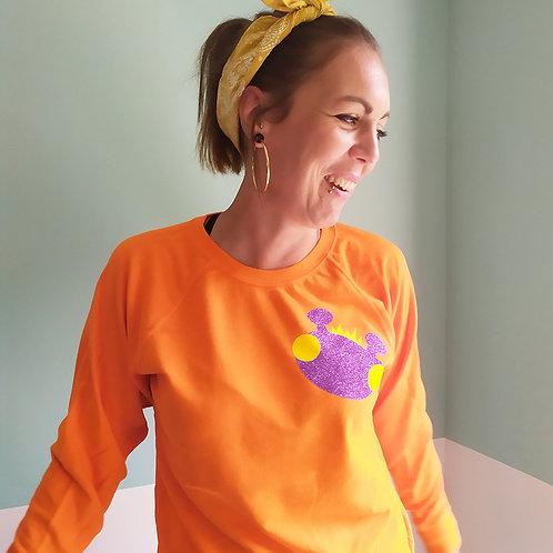 Sweatshirt orange / Willy lila Glitzer