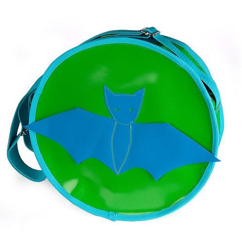 Runde Tasche grün / Fledermaus blau