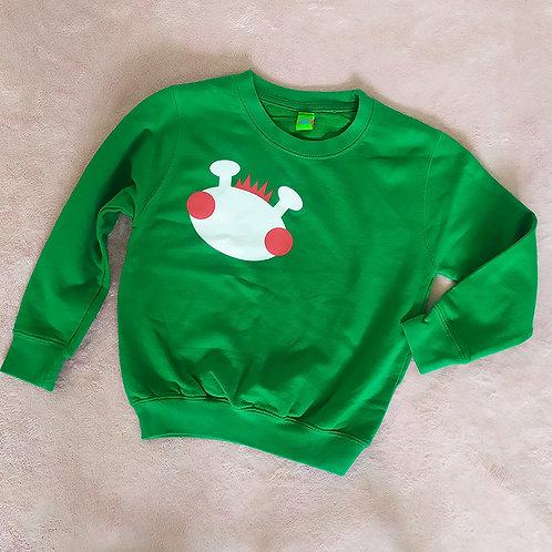 Sweatshirt grün / Willy weiß