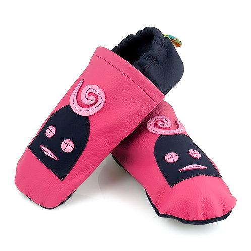 Lederpuschen pink / dunkelblau / Lilly