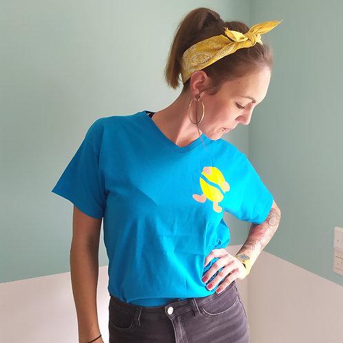 T-Shirt türkis / Billy gelb