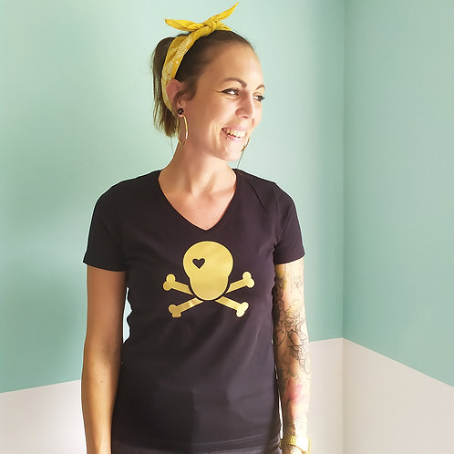 T-Shirt schwarz / Skull gold