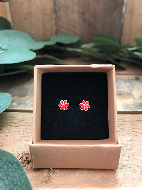 Red Small Flower Studs