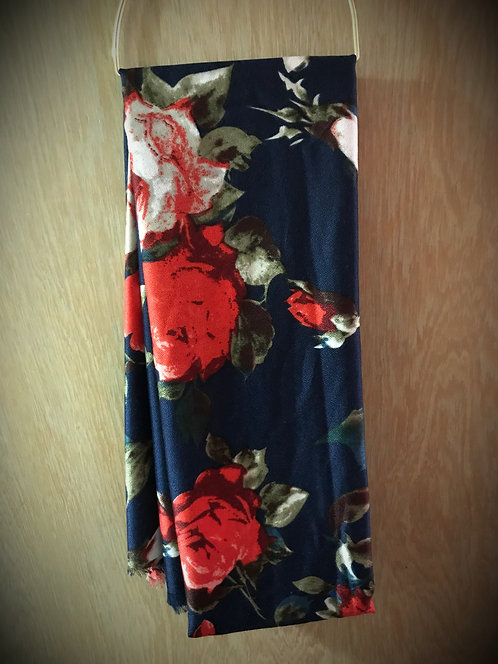 Navy with Vibrant Red Roses