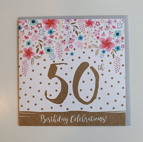 50th - Flowers & Glitter Dots