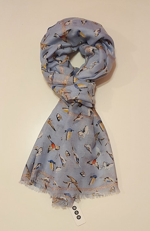 Pale Blue Gold Weave with Birds & Butterflies